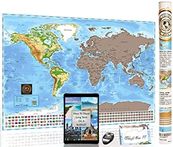 Amazoncom Deluxe Scratch Off World Map Mark Your Trips Premium