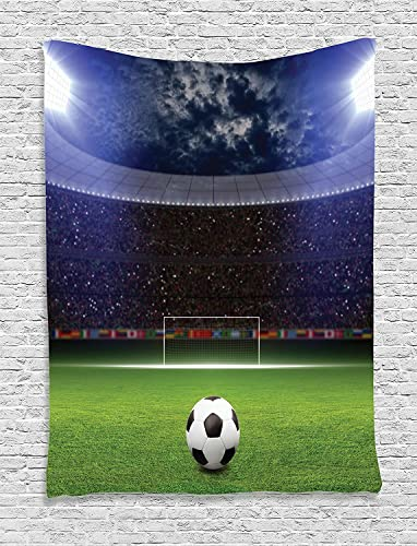 Ambesonne Sports Tapestry, Soccer Ball on Stadium Arena in The Night Fans Cheering Green Field, Wall Hanging for Bedroom Living Room Dorm, 60 X 80 , Blue Green