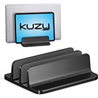 Kuzy Dual Vertical Laptop Stand, 2 Device Holder with Adjustable Dock Vertical Laptop Holder Computer Rack, Aluminum and…