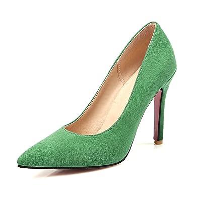 UH Damen High Heels Nubukleder Spitze Pumps mit Stiletto 10cm Ohne Plateau Kleid Party Elegante Schuhe