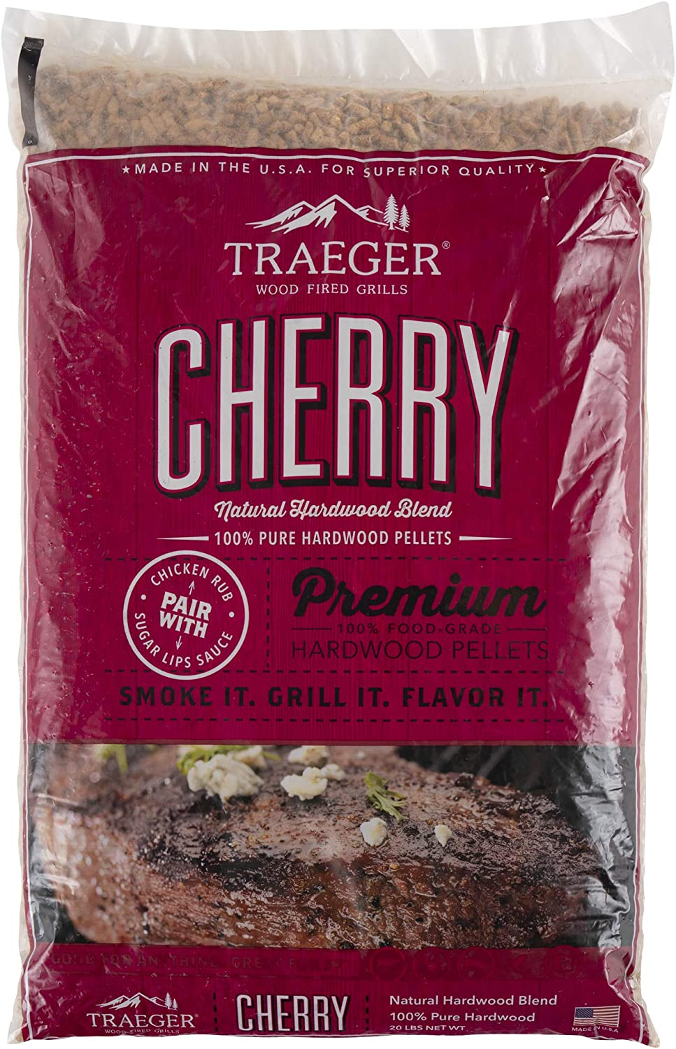 Traeger Grills PEL309 Cherry 100% All-Natural Hardwood Pellets Grill, Smoke, Bake, Roast, Braise and BBQ, 20 lb. Bag : Outdoor Grilling Pellets : Garden & Outdoor