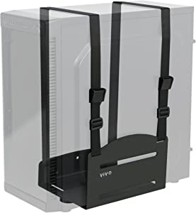 VIVO Black Universal PC Wall Mount, Adjustable Steel Bracket | Computer Case Open Frame Strap Holder (MOUNT-PC03V)