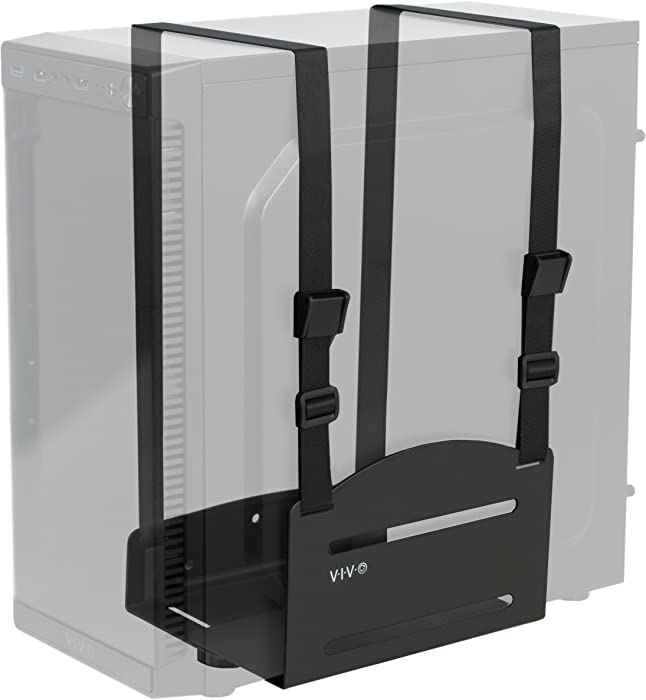 VIVO Black Universal PC Wall Mount, Adjustable Steel Bracket | Computer Case Open Frame Strap Holder (MOUNT-PC03V)