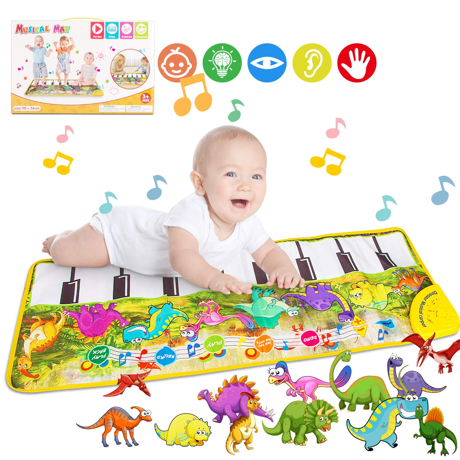 Piano Mat, Tencoz Musical Piano Mat with 8 Dinosaurs Sounds Portable Electronic Educational Musical Blanket Dinosaur Toys Gifts for Kids Toddler Girls Boys