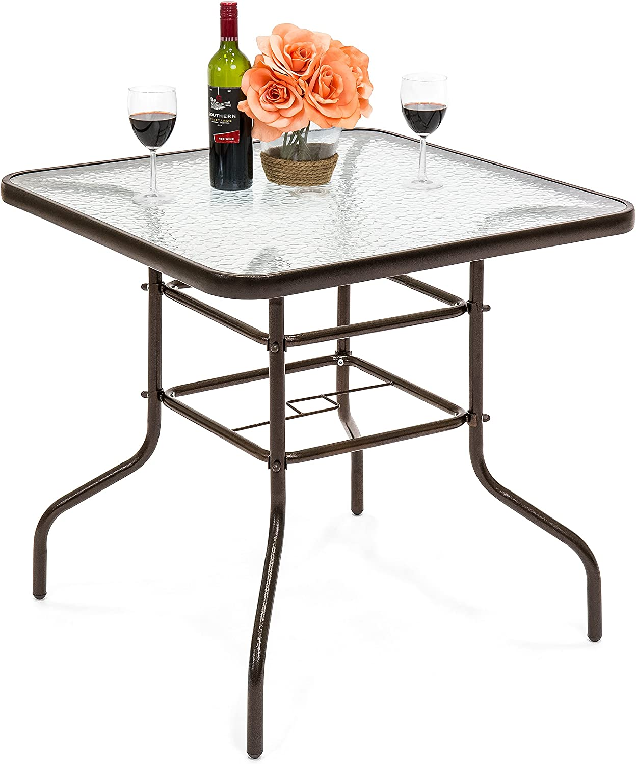 Florabest Aluminium Folding Table Glass Table Top Made of Safety Glass with Tempered Glass Top Ideal for Balcony Garden or Terrace