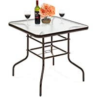 Best Choice Products 32in Square Tempered Glass Outdoor Patio Dining Bistro Table w/Umbrella Hole, Steel Frame, Easy Assembly