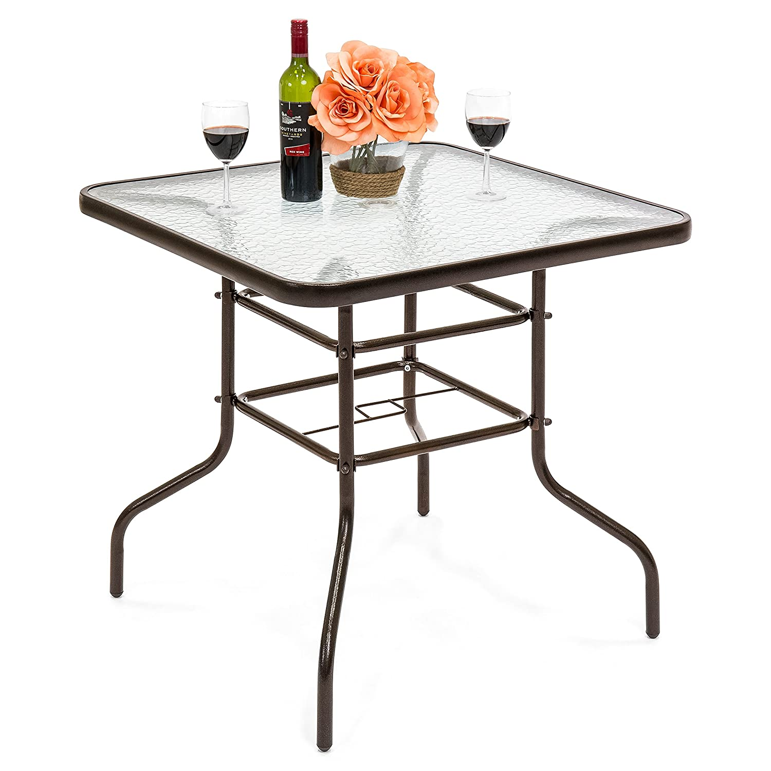 Best Choice Products 32in Square Tempered Glass Outdoor Patio Dining Bistro Table w Umbrella Hole, Steel Frame