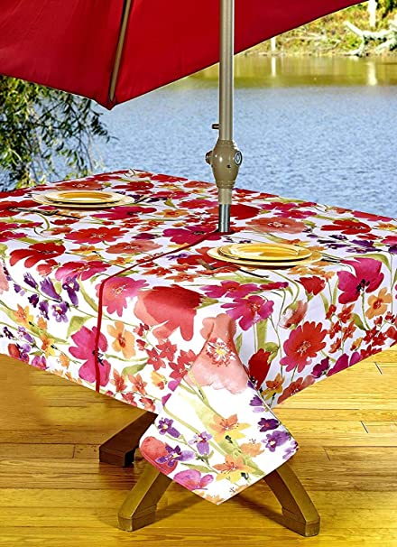 Amazon Com Outdoor Tablecloths Umbrella Hole With Zipper Patio