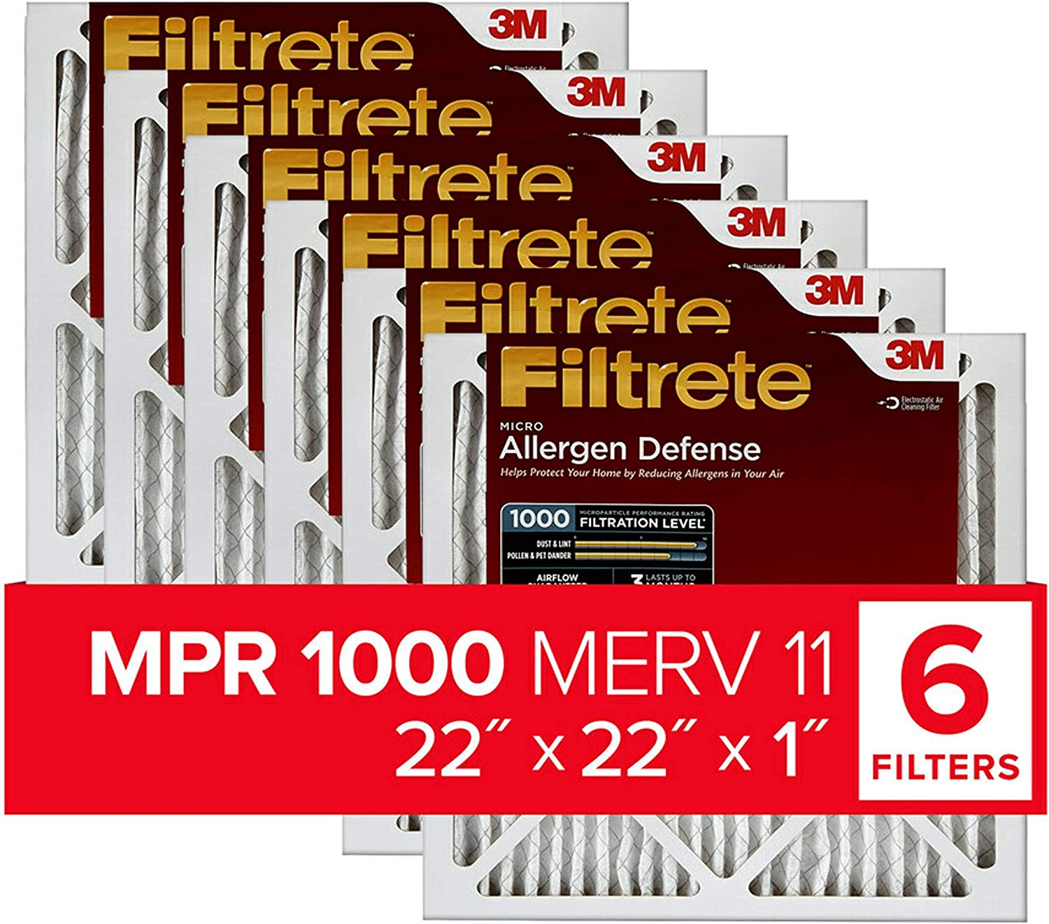 Nordic Pure 20x20x1 MPR 1000 Pleated Micro Allergen Replacement AC Furnace Air Filters 6 Pack