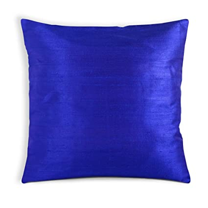 Buy DesiCrafts Royal Blue Pure Raw Silk Pillow Cover 40x40 Inch Delectable Raw Silk Pillow Covers
