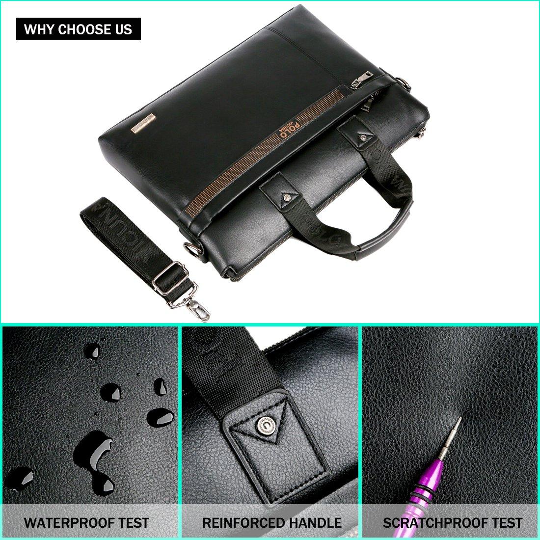 VICUNA POLO Men Briefcase Bag Business Bag Leather Laptop Bag Man Bag Handbag (black for 15.6inch) by VICUNA POLO (Image #6)
