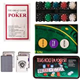 WICKED GIZMOS ® Professional Casino Style 200 Piece Texas Hold'em Poker Game Play Set with Felt Gaming Mat, Chips, Chip Deck, Playing Cards and Tin Gift Box