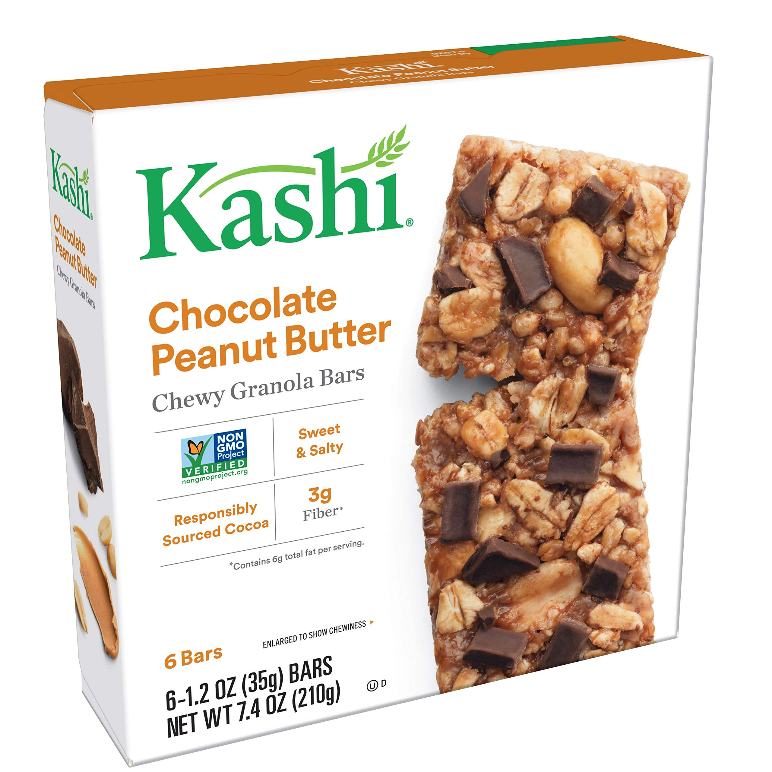Kashi, Chewy Granola Bars, Chocolate Peanut Butter, Vegan, Non-GMO Project Verified, 7.4 oz (6 Count)(Pack of 8)