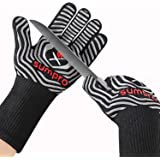 SUMPRO Hot BBQ Gloves Heat Resistant Kitchen Oven Mitts Professional Long Heat Resistant Cooking Gloves for Grill,Grilling,Sm