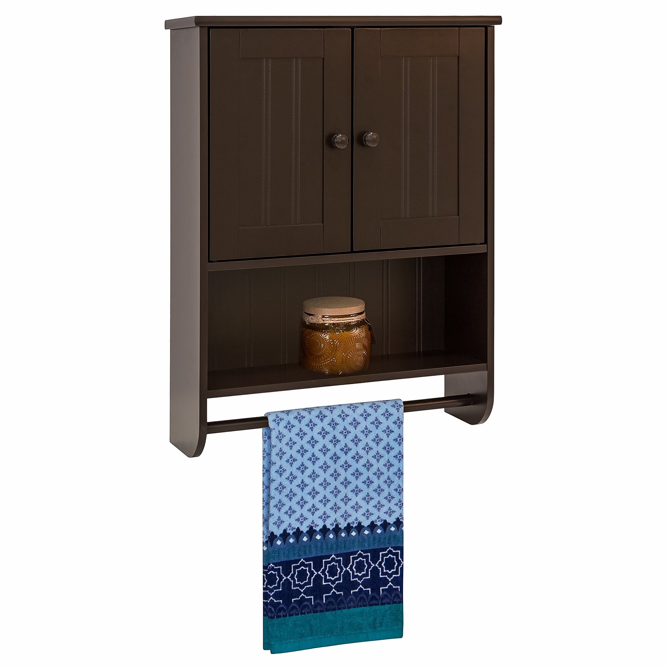 Best Choice Products Modern Contemporary Wood Bathroom Storage Organization Wall Cabinet w/Open Cubby, Adjustable Shelf, Double Doors, Towel Bar, Wainscot Paneling - Espresso Brown