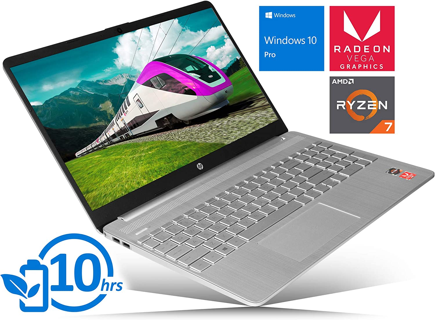"HP 15 Laptop, 15.6"" HD Touch Display, AMD Ryzen 7 3700U Upto 4.0GHz, 16GB RAM, 512GB NVMe SSD, Vega 10, HDMI, Card Reader, Wi-Fi, Bluetooth, Windows 10 Pro"
