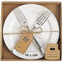 Mud Pie Mr. & Mrs. Juego de plato y tenedor, color blanco