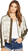 Blank NYC Womens Novelty Detailed Bomber Jacket in Green Beaner