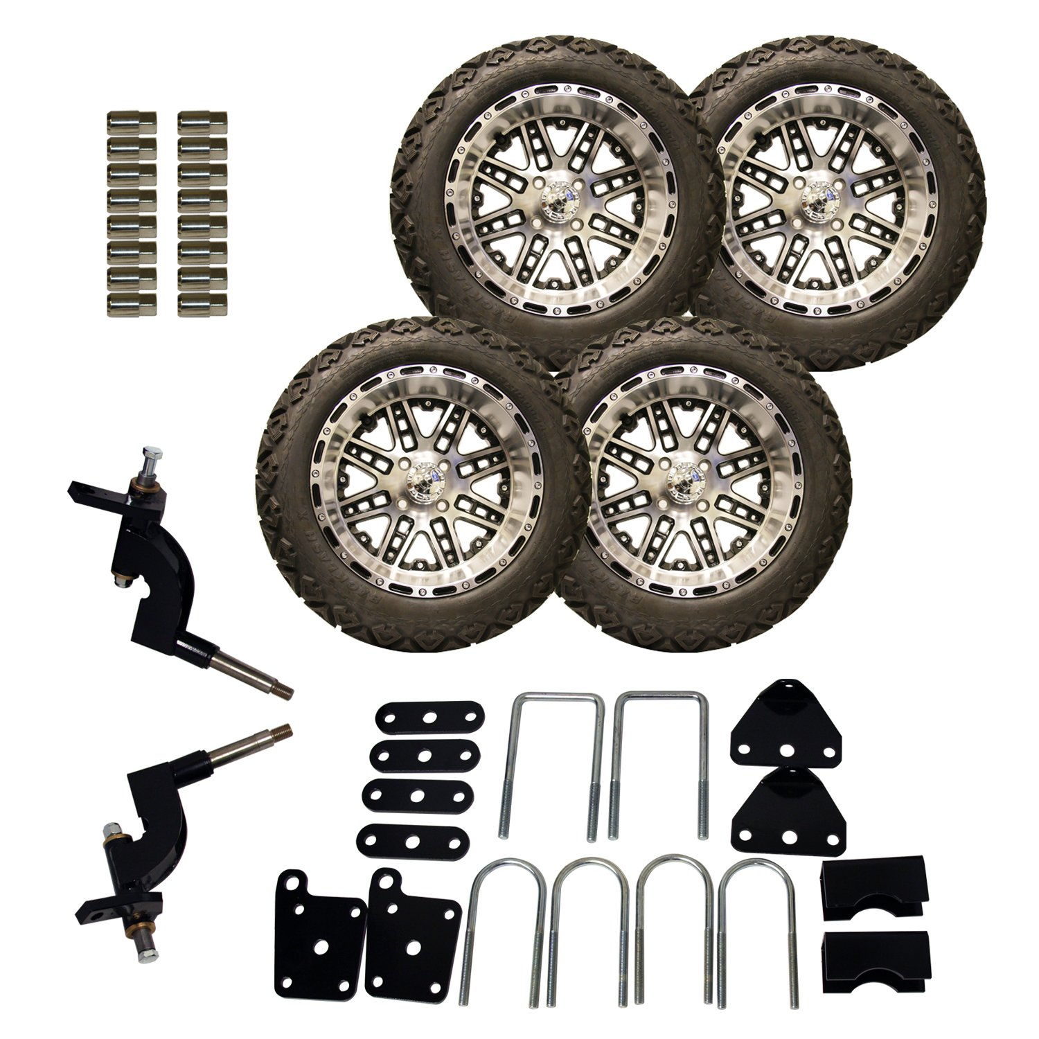 Pro-Fit 750513PKG 23 by 10 to 14-Inch Backlash X Tire with Machined with Black Megastar Wheel Package and Lift Kit Combo for RXV, 5-Inch