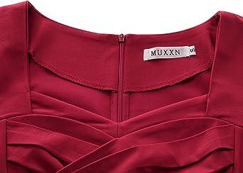 MUXXN damska sukienka w stylu retro inspirowana latami 50-tymi XX wieku, Swing, Vintage Rockabilly, sukienka koktajlowa, na imprezę: Odzież