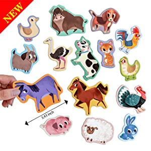 MAGDUM FARM animal magnets -real LARGE fridge magnets for toddlers- Magnetic EDUcational toys baby 3 year old baby LEARNing magnets for kids- Speech development toys - Kid magnets for Magnetic THEATRE