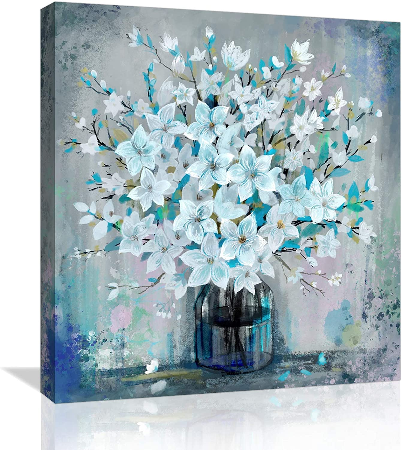 Canvas Wall-Art for Bedroom Bathroom Living-Room and Office Decor, Framed Paintings Modern Farmhouse Wall Art, Blue Flower Wall Decor Picture Artwork for Home Art Prints with Wood Frame Size 14
