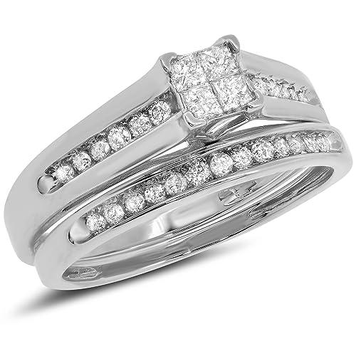0.50 Carat ct 10k Gold Princess Cut Round Diamond Bridal Engagement Ring Matching Wedding Band Set 1/2 CT