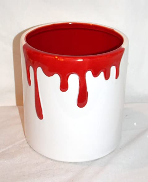 Charmant NEW 6u0026quot; CERAMIC RED U0026 WHITE PAINT DRIP KITCHEN UTENSIL HOLDER