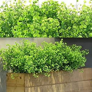 12 Bundles Artificial Flowers Outdoor UV Resistant Plants Flowers Decorative Artificial Shrubs Bushes for Floral Arrangement, Table Centerpiece, Home Garden Kitchen Decor (Green)