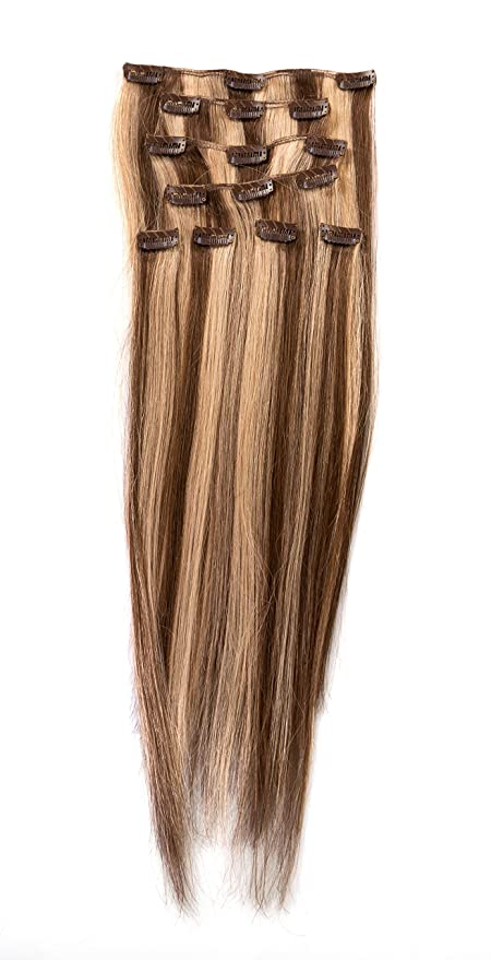 Color No 624 Donna Bella Full Head Human Clip In Hair Extensions
