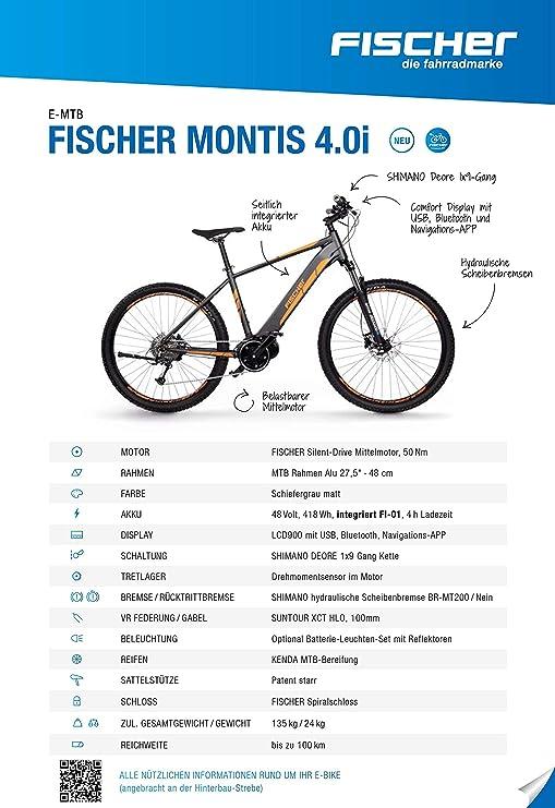 Fischer Montis 4.0i-Bicicleta eléctrica, Altura, Motor Central de ...