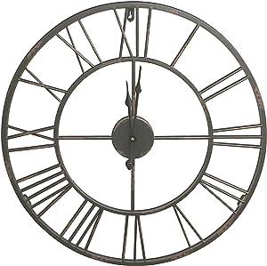 HDC International Round Decorative Metal Distressed Iron Roman Numeral Clock Quartz Movement 24 x 24 x 1 Inches.0100