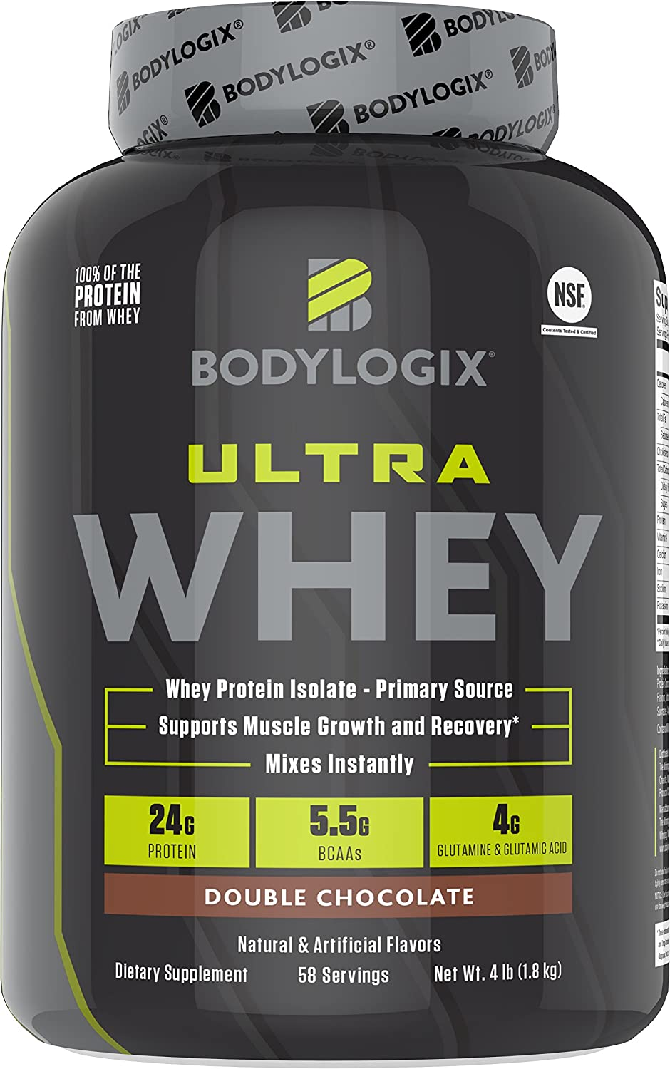 Bodylogix Ultra Whey NSF Certified Protein Powder, Double Chocolate, 4 Pounds