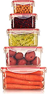 Sealco Food Storage Meal Prep Lunch Box Containers with Lids – Reusable Plastic Containers – BPA-Free, Stackable, Microwave, Dishwasher, Freezer Safe – Airtight – 5 Piece Set