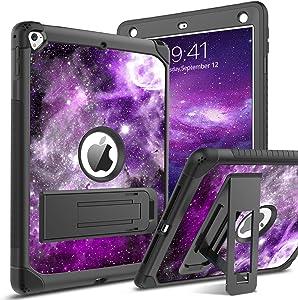BENTOBEN iPad Air 2 Case, iPad 6th / 5th Generation Case, iPad 9.7 2018/2017 Case, iPad Pro 9.7 Case, Glow in The Dark 3 in 1 Shockproof Kickstand Protective Girls Women Boys Men Tablet Cover, Nebula