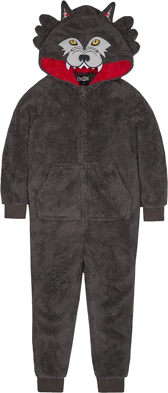 Boys Novelty Animal Hood Snuggle Fleece Onesie