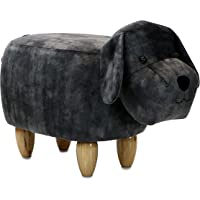 Critter Sitters Dark Gray 14″ Seat Height Animal Dog-Super Soft Plush-Durable Legs-Furniture for Nursery, Bedroom, Playroom & Living Room-Décor Ottoman