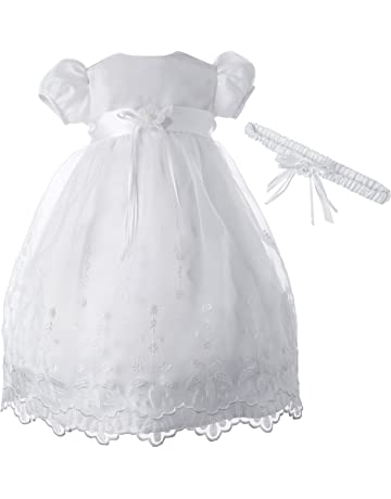 70e490ef1 Lauren Madison Baby-Girls Newborn Satin Floral Embroidered Dress Gown Outfit