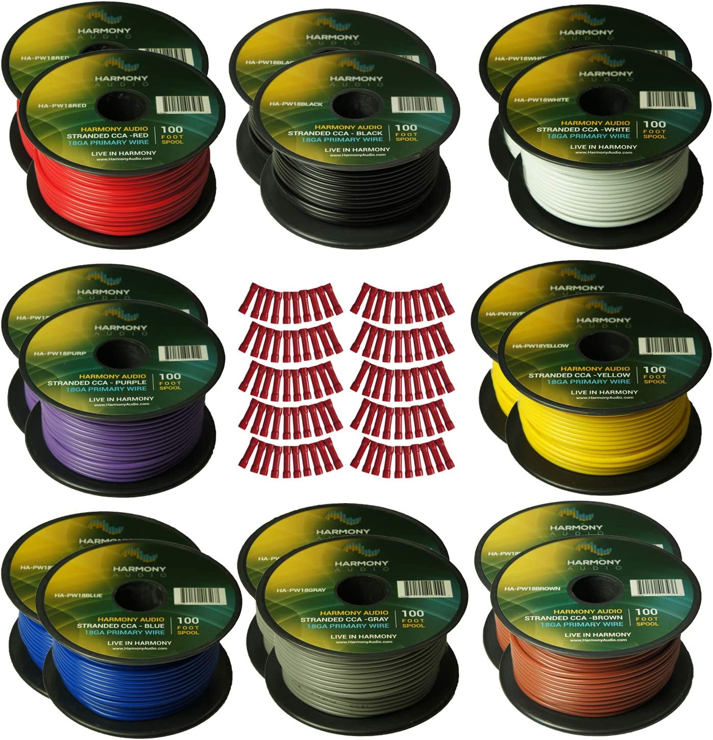 Harmony Audio Primary Single Conductor 18 Gauge Power or Ground Wire - 18 Rolls - 1800 Feet - 6 Color Mix for Car Audio/Trailer/Model Train/Remote