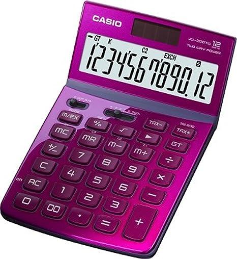 Casio calculadora de 12 dígitos jw-200tw-pk GT Dual Power jw200tw rosa/genuino