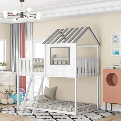 Buy House Bed Twin Over Twin Bunk Bed With Rustic Fence Shaped Guardrail Wooden Low Bunk Beds For Kids Boys And Girls White Online In Indonesia B091b1spvp