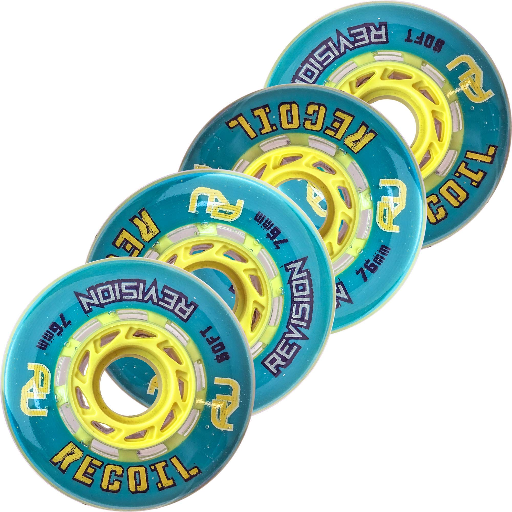 Revision Recoil Indoor Inline Roller Hockey Wheel - 74A - 76mm Soft 4 Pack- Teal & Yellow by Revision Hockey