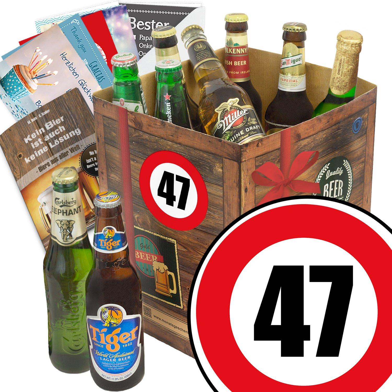 Geschenk Ideen zum 47. für Männer - Bier Geschenk Box mit Bieren der Welt + Bier Buch + gratis Geschenk Karten + Bier - Bewertungsbogen Bierset + Bier Geschenk + Personalisierte Geschenk-Box - 47 + Bier Geschenke für Männer + Besser als Bier selber machen