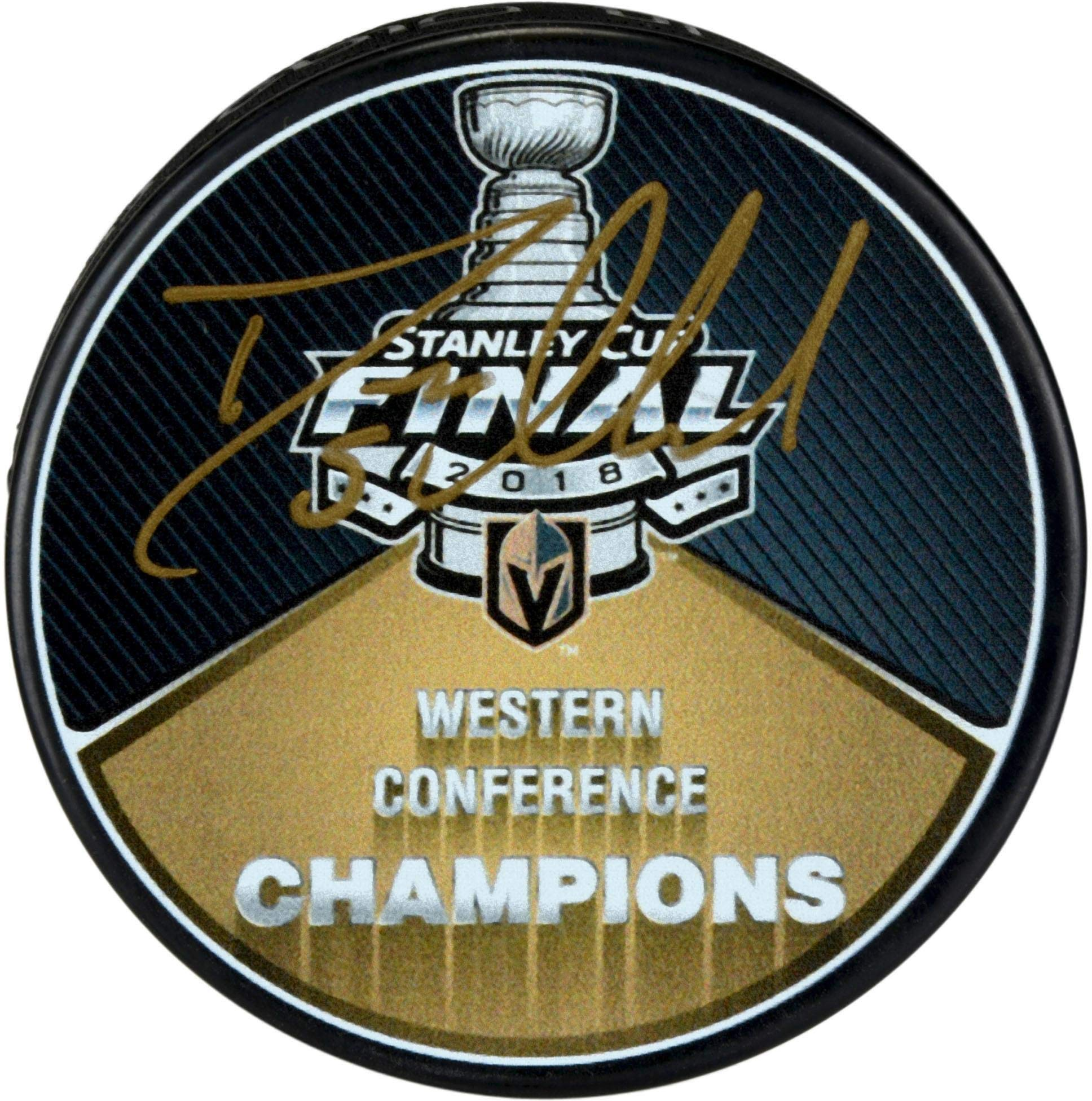 Deryk Engelland Vegas Golden Knights Autographed 2018 Western Conference Champions Puck Fanatics Authentic Certified