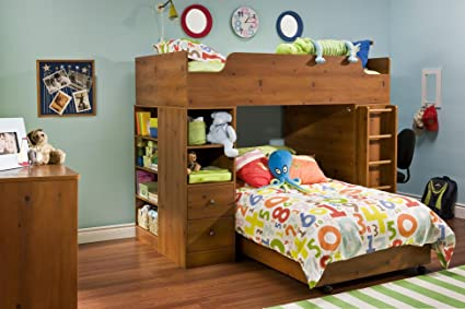 Amazoncom Twin Over Twin L Shaped Wood Loft Bunk Bed In Sunny Pine