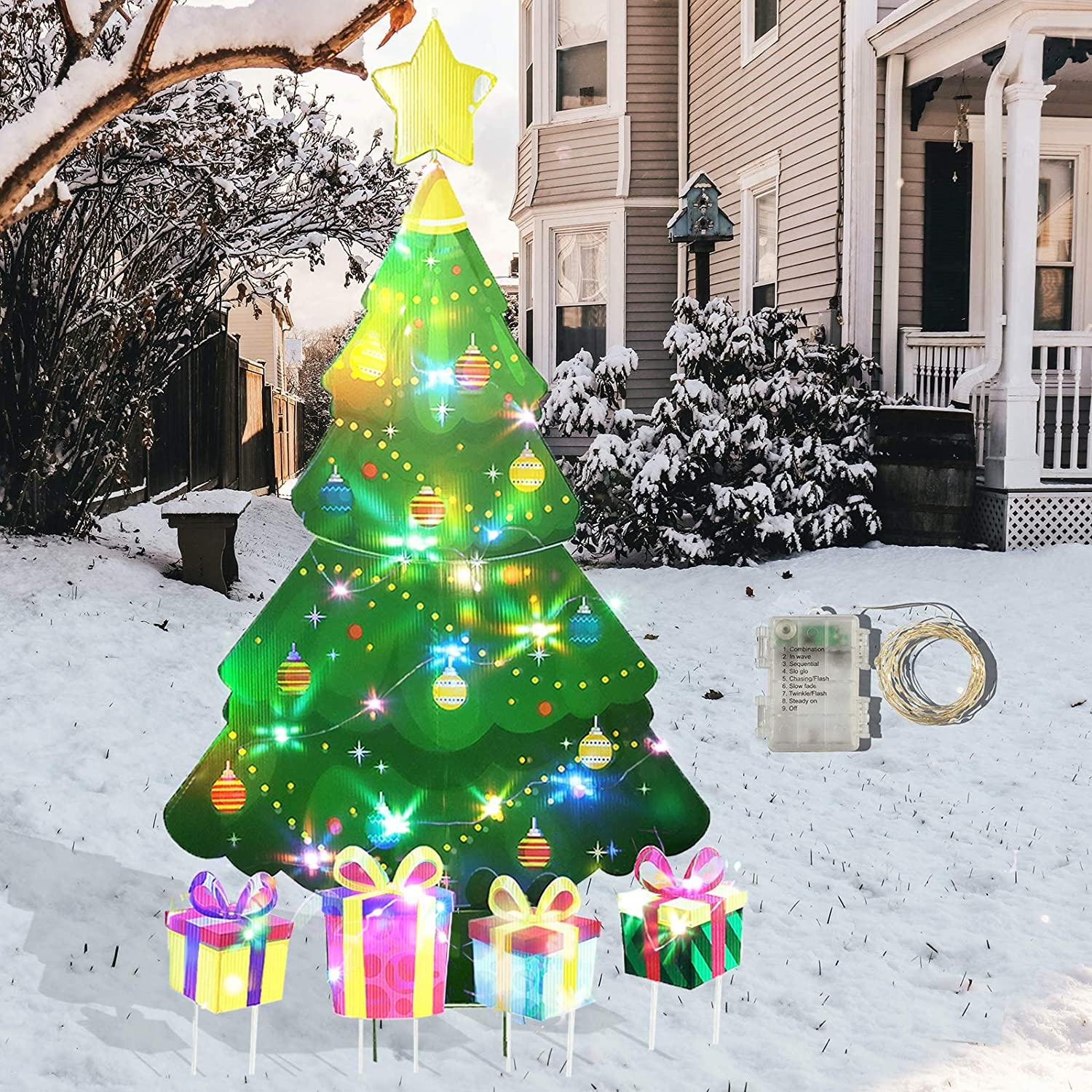 Amazon Com Glorya Christmas Yard Decorations 46 Inch Laser Waterproof Layer Christmas Tree With 9 Modes Of String Light Is Outdoor Lawn Decor Stakes Signs For Birthdays And Christmas Garden Outdoor