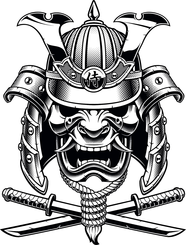 Amazon com simple black and white japanese element cartoon emoji vinyl sticker 2 tall samurai warrior with beard automotive
