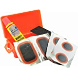 Lumintrail Bicycle Bike Tire Tube Repair Kit - 6 Rubber Patches + Sandpaper + Rubber Patch Cement, in Compact Portable Case (1 or Multiple Pack)