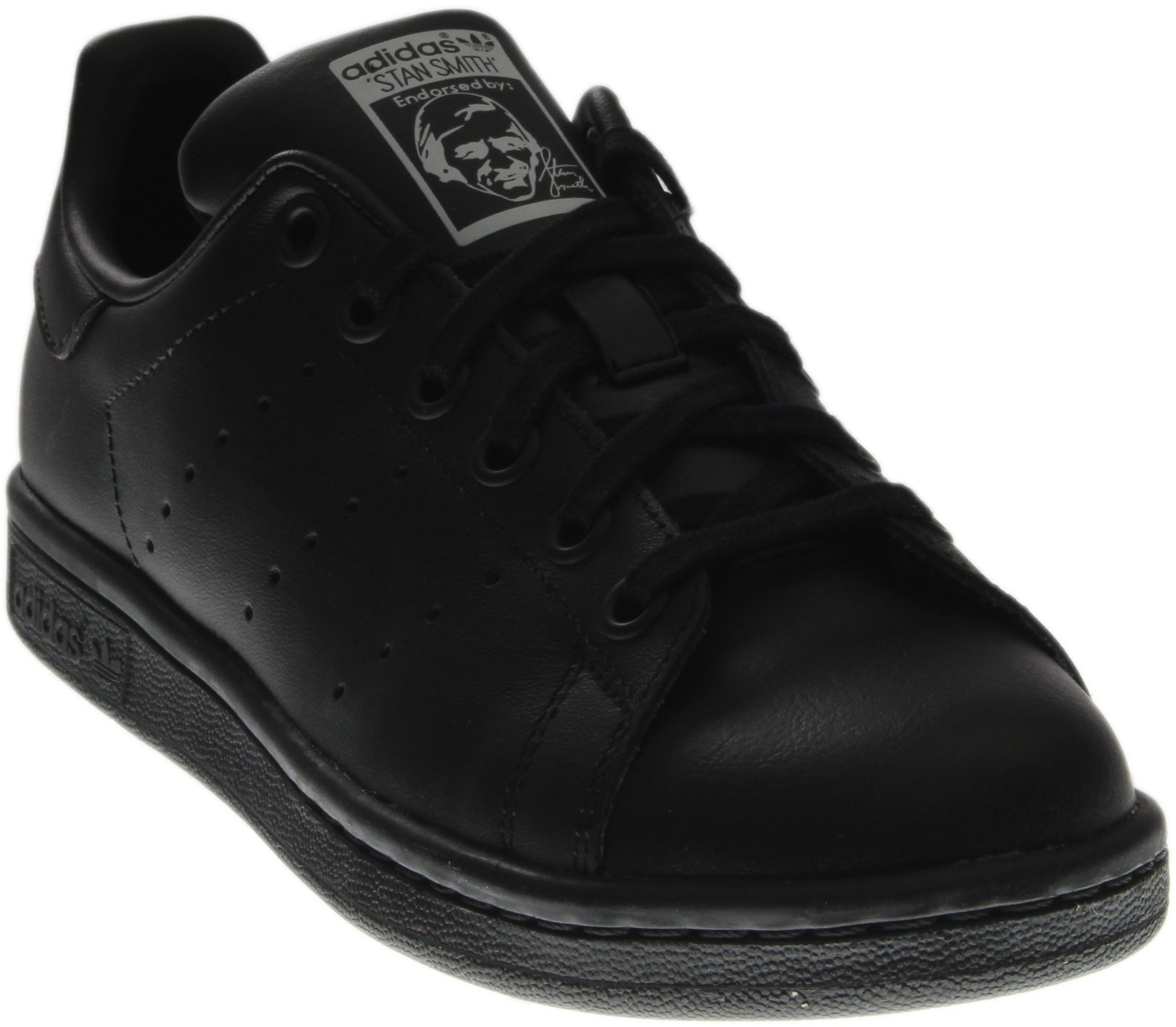 adidas Performance Stan Smith J Tennis Shoe (Big Kid), Black/Black/Running White, 4.5 M US Big Kid
