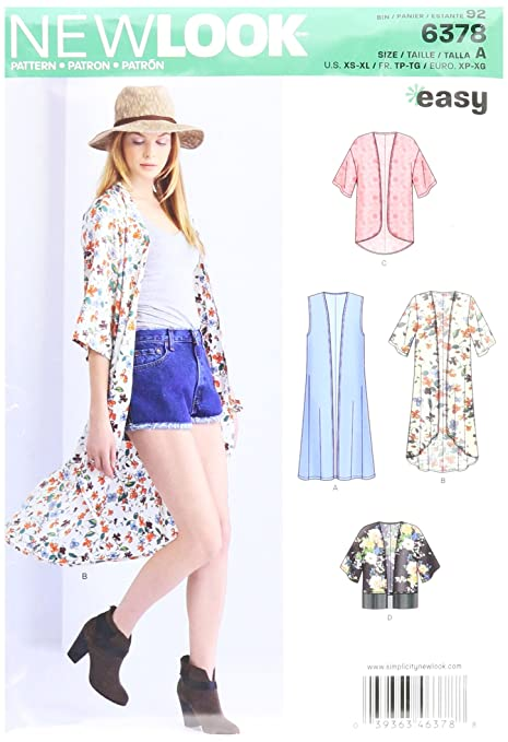 New Look 6378 Size A Misses\' Easy Kimonos with Length Variations ...